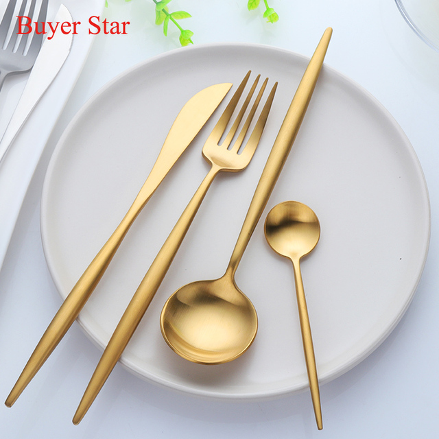 16Pcs Luxury Gold Plated Flatware Set Cutlery Stainless Steel Black Gift Knives Fork Spoon Dinnerware Set & 16Pcs Luxury Gold Plated Flatware Set Cutlery Stainless Steel Black ...