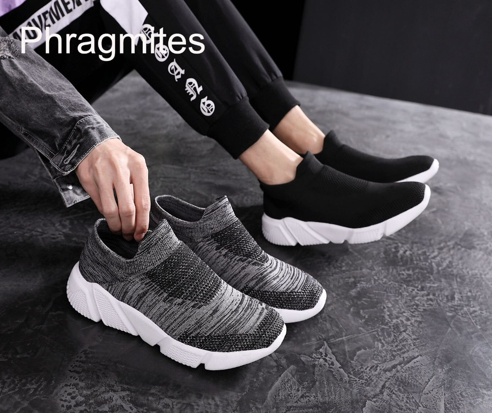 Phragmites 2019 New Flyknit Casaul Shoes Couple Light Weight Sneakers Handsome Black Tenis Masculino Sneakers Summer