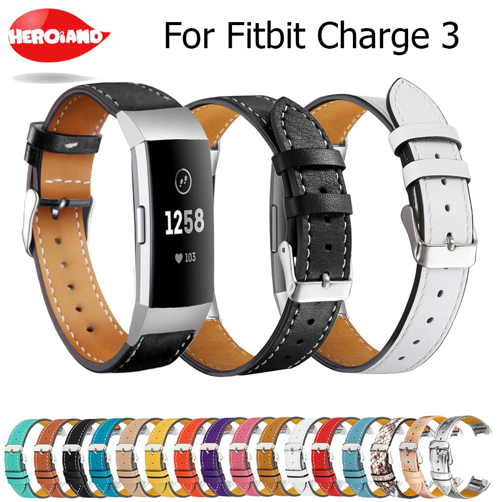 Replacement For Fitbit Charge 3 Charge3 Bands Leather Straps Band Interchangeable Smart Fitness Watch Band With Stainless Frame