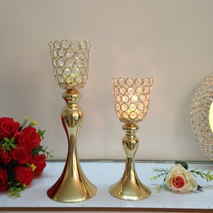 antique gold crystal candle holder for weddings metal candle stand for home decoration hotel candle centerpiece wedding props