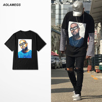 Aolamegs T Shirt Men Hip Hop Rock Kanye West T Shirt American Style Creative Funny Printed