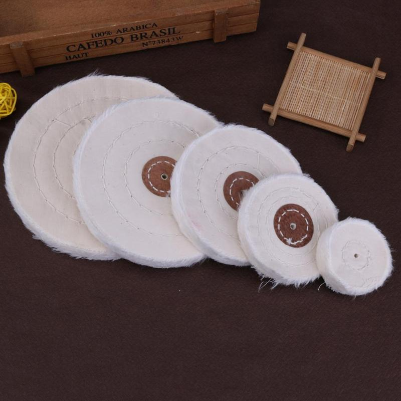 50-150mm White Cotton Lint Cloth Buffing Wheel Gold Silver Jewelry Mirror Polishing Cloth Wheel 4mm inner hole