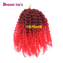 "Dream ice's Synthetic Bulk curly crochet Hair Extensions 8"" Mali Bob Afro Twist Curly Crochet Braids hair(China)"