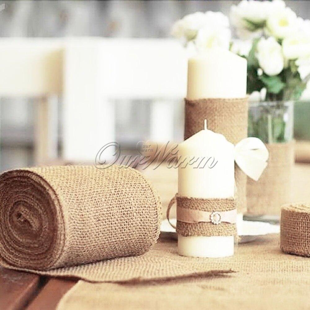10M*15CM Burlap Ribbon Roll Natural Jute Hessian Burlap Table ...