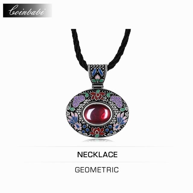 Геометрическая Ожерелье, Богемия 925 Стерлингового Серебра и Корунд Ювелирные Изделия Для Женщин, Этнический Стиль Классический Ретро Геометрия