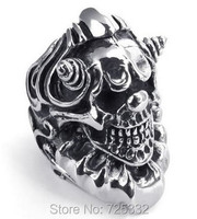 Fashion Heavy Large Vintage Stainless Steel Gothic Skull Biker Mens Ring Silver US Size 8 To