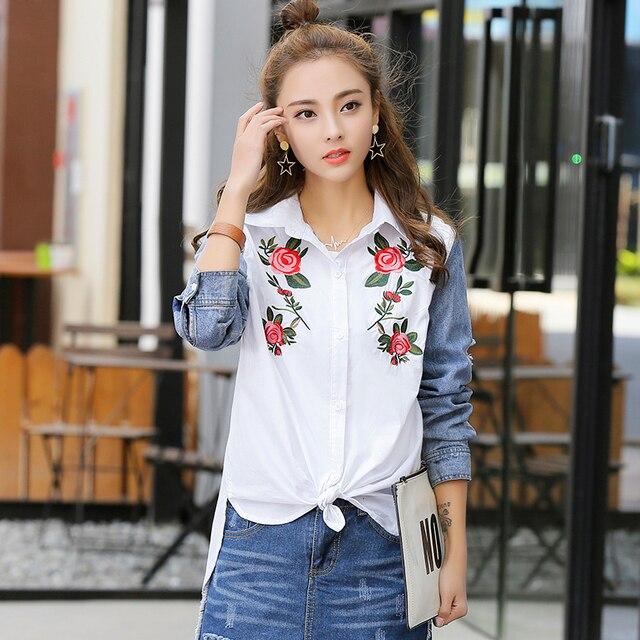 2a6efaa4faa8 € 20.89 |Mujeres Blusas Tops 2018 primavera moda blanco rosa flor Bordado  Denim patchwork manga larga suelta casual camiseta l546 en Blusas y ...