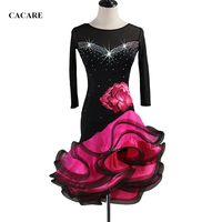 Customized Latin Salsa Dance Competition Dresses Tango Fringed Dress 2 Choices D0525 Shinning Rhinestones Applique Fluffy Hem