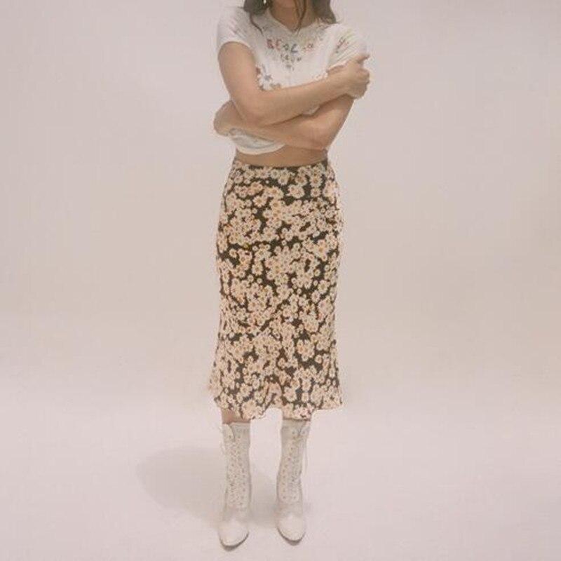 Soie Sauvage Haute Slip 90's Jupe La Show Cachée Power Face Nouveau Élastique flower Femmes Vintage Picture Naomi Imprimé Taille Satin Facile As YwP6Tq