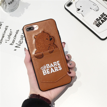 Cartoon Bears Card Pocket Case for IPhone X XS MAX XR Protective Case for Iphone 7 8 Plus 6 6S Embroidery Leather Cases Cover image