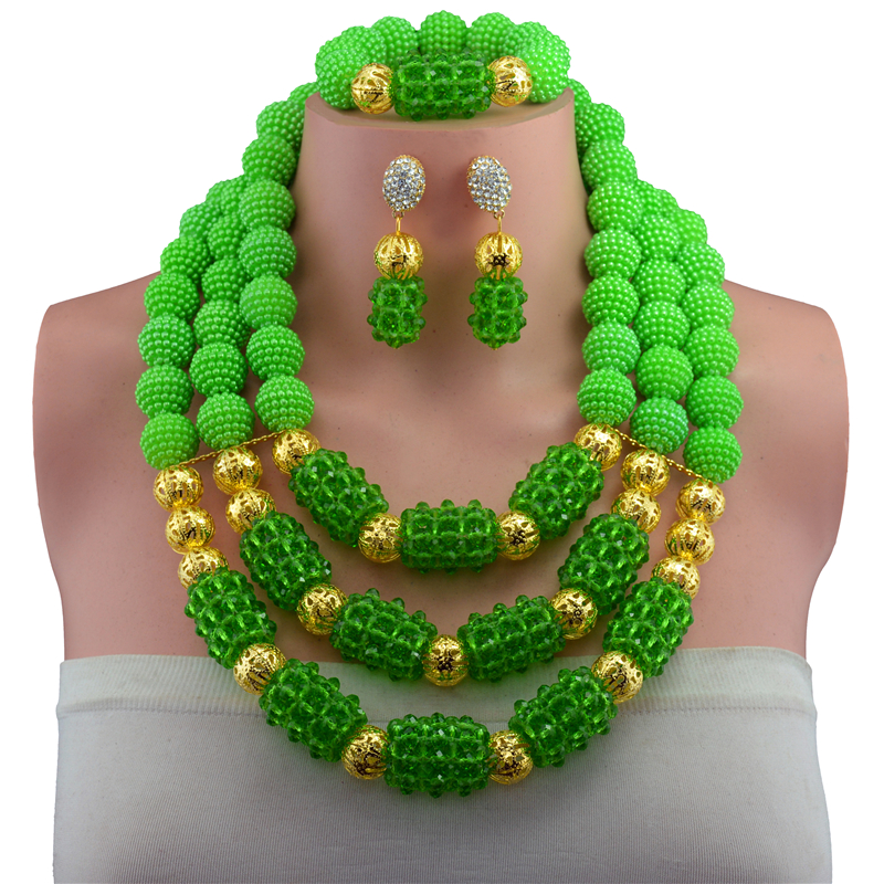 2017 African Beads Jewelry Set Wedding African Beads Jewelry Set Green Nigerian Wedding African Beads Jewelry Set Crystal african symbolism