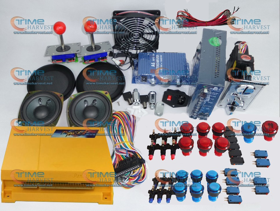 Arcade parts Bundles kit With 645 in 1 Pandora's Box 4 Joystick Microswitch illuminated Buttons Build up Arcade Cabinet Machine