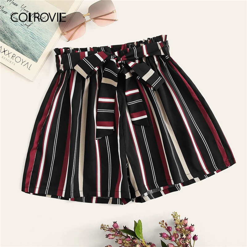 COLROVIE Striped Belted Elastic Waist Summer Shorts Women 2019 Summer Korean Style Wide Leg Beach Holiday Casual Shorts