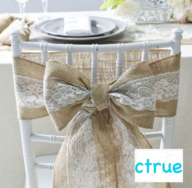 unid yute silla silla marcos del arco pajarita vintage pas de arpillera de yute de