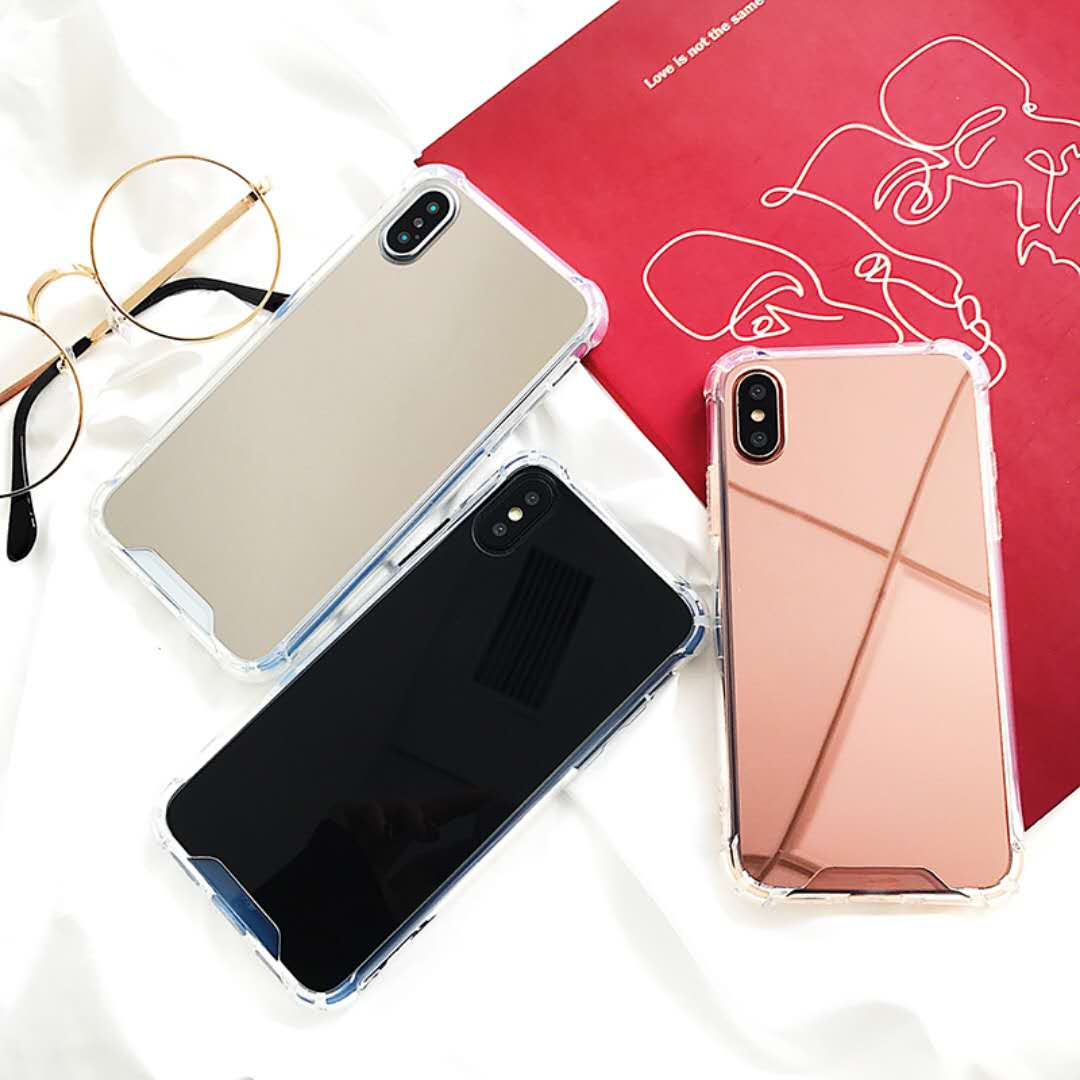 Mirror TPU Phone Cases For Iphone 6 Case 6 6S 7 8 Plus Airbag Soft Silicone Cover For Iphone X Case Coque