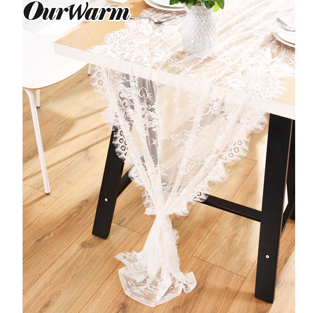 OurWarm White Lace Table Runner Chair Sash Floral Table Runners Modern Boho Wedding Decor Home Hotel Birthday Party Table Decor