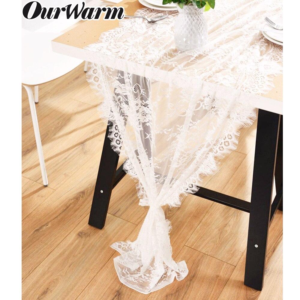 OurWarm, camino de mesa blanco de encaje, Marco para silla, camino de mesa Floral, decoración moderna Bohemia boda, hogar, Hotel, cumpleaños, decoraciones de mesa para fiestas