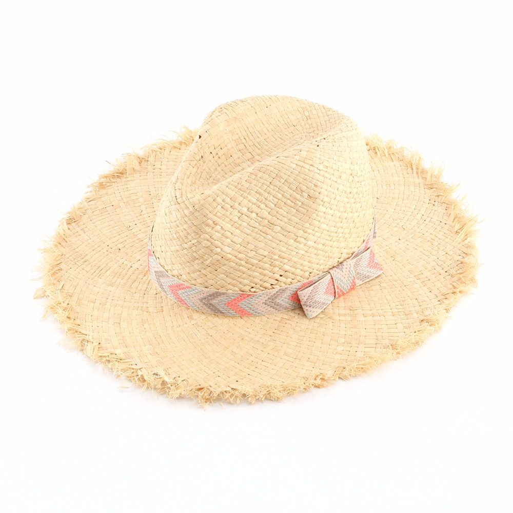 2017 Summer Women Sun Hats Natural Raffia Straw Hat Bowknot Panama Beach  Caps Casquette