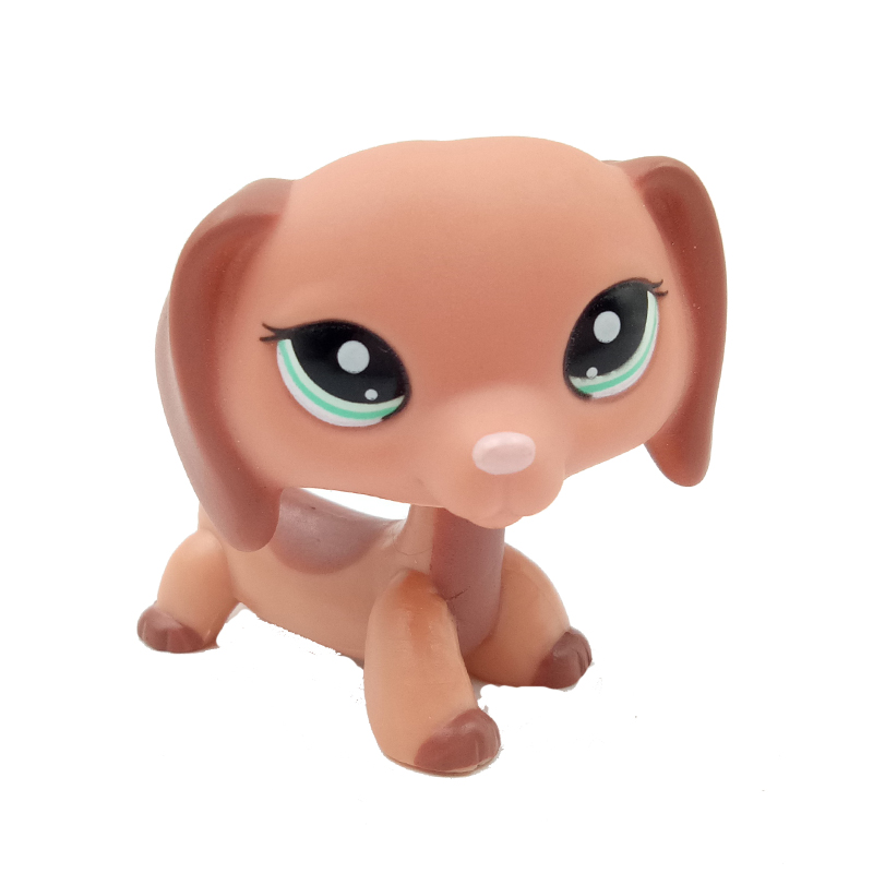Original Pet Shop Toys DACHSHUND #2046 Cute Puppy Dog Old Real Child Birthday Toys Gift Without Magnet
