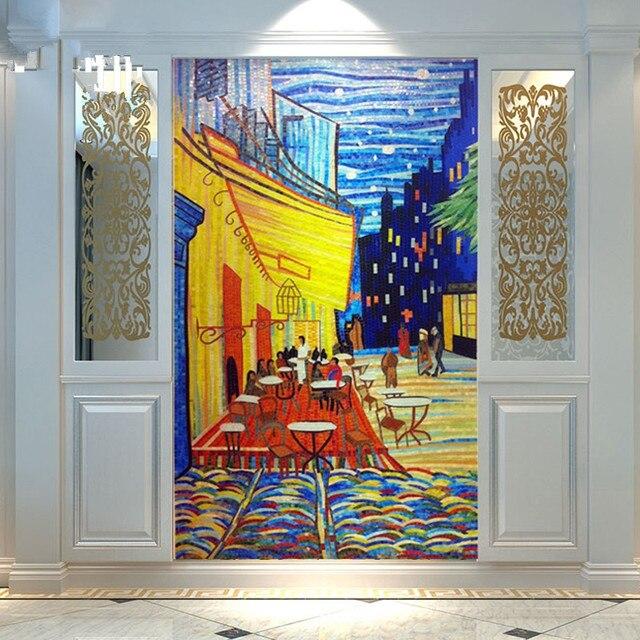Ordinaire Customized Van Gogh Terrasse Hand Cut Mural Wall Glass Mosaic Tile Living  Room Kitchen Backsplash Wall Stickers Wallpaper