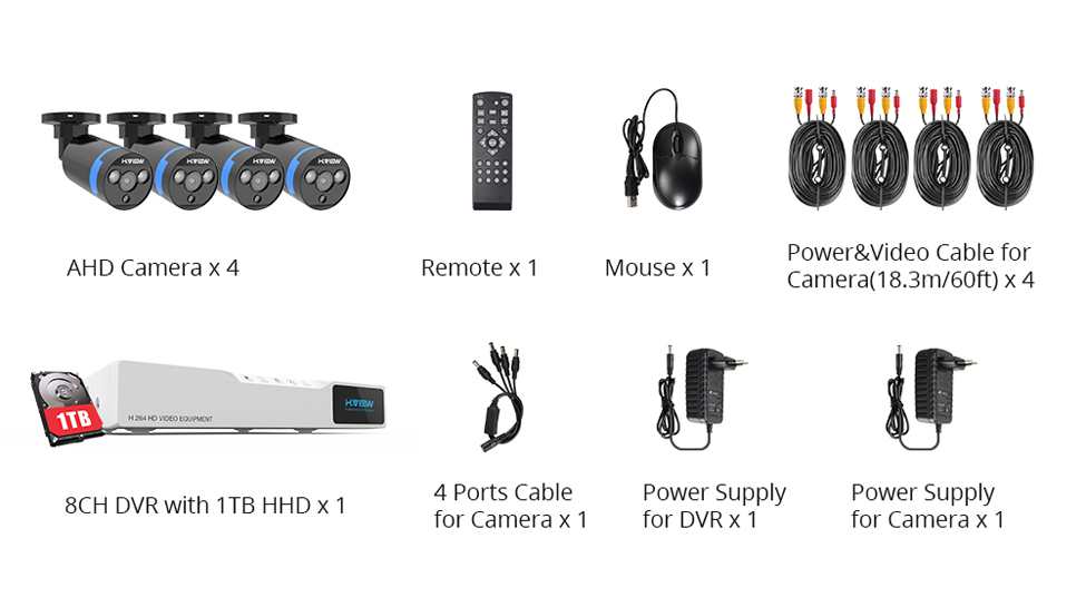 home camera system 8420Q3AM1T H.View Security Camera System 8ch CCTV System 4 x 1080P CCTV Camera Surveillance System Kit Camaras Seguridad Home 1TB HDD (2)
