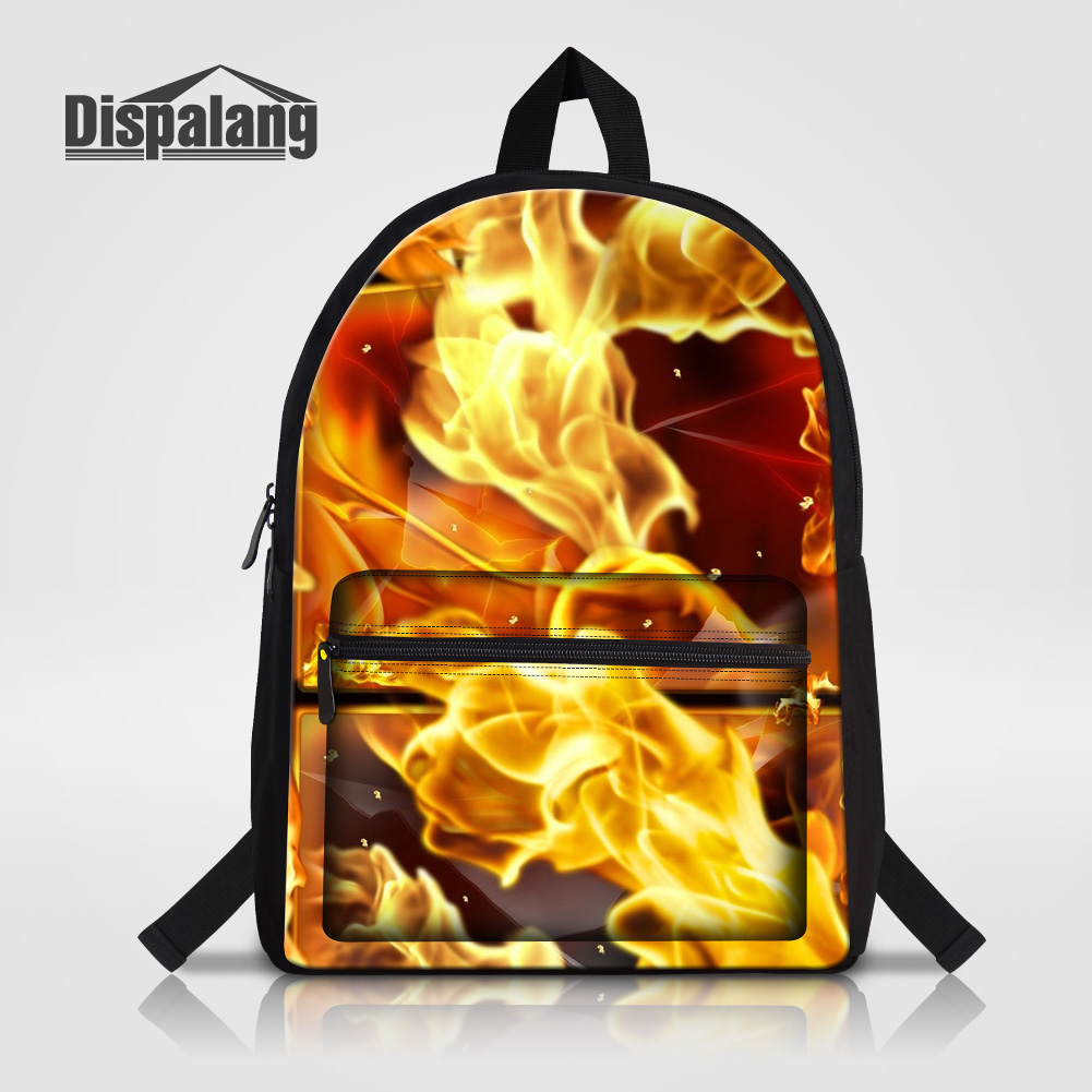 Dispalang 14 Inch Laptop Backpack For Teenage Boys Cool Fire Printing School Bags High Quality Canvas Rucksack Male Bagpack Pack