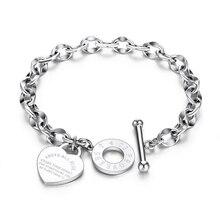 Heart-shaped Bracelet Proverbs Pendant for Women Gift Metal Brand Tif DesignBrac