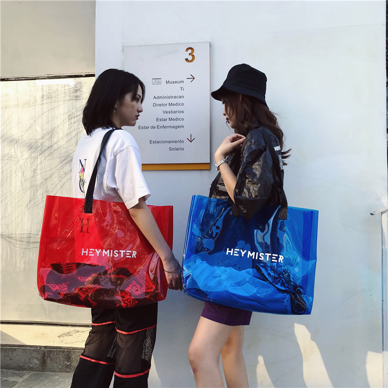 Women Bag 2019 New Transparent Shoulder Bag Large Capacity PVC Beach Jelly Bolsa Casual Tote Travel Duffel Weekender Bag