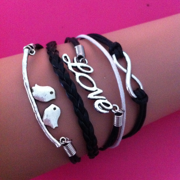 Infinity anchor musical note love bird black wax cords charm harry potter elephant 8 Wrap Cool
