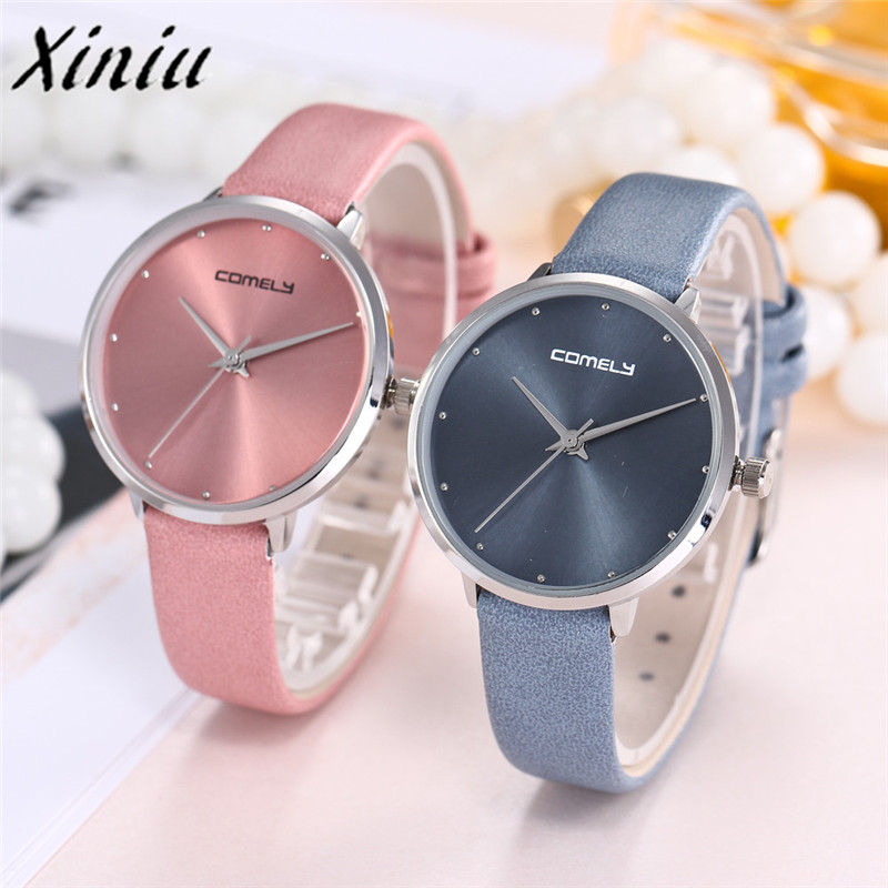 XINIU 2018 new Women's Watches Casual Watches Women Fashion Love heart Leather Band Analog Quartz Round Wrist Watch Watches 0109 new fashion women retro digital dial leather band quartz analog wrist watch watches wholesale 7055
