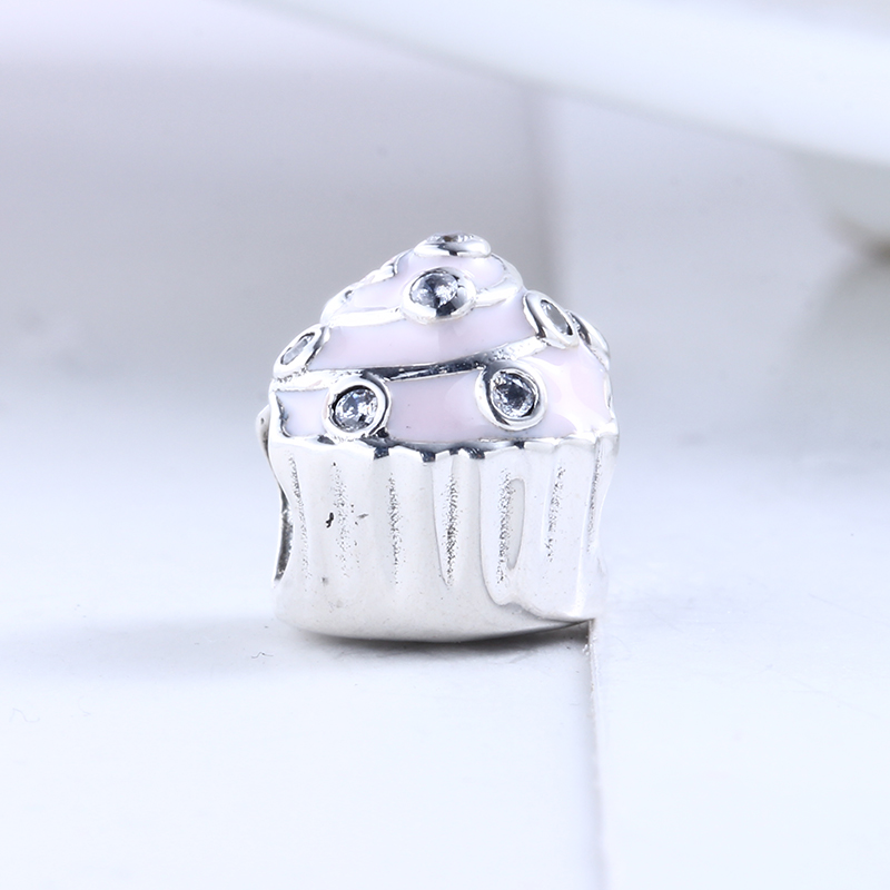 New 100% 925 Sterling Silver Fit Original Pandora Bracelet Enamel Birthday Cake DIY Charms Beads for Jewelry Making Gift