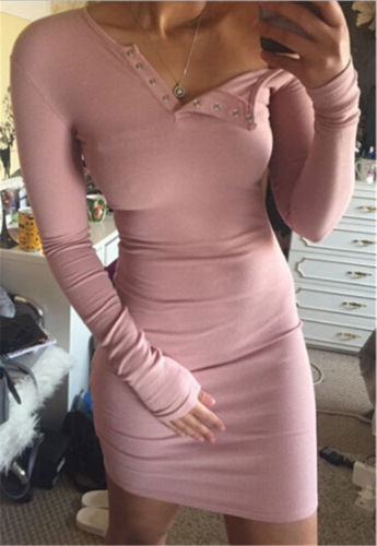 Women Sexy Dress Slim Bodycon Casual Ladies Girl Skinny Knitted MIni Dress  long Sleeve Jumper Dress 8262f0d955