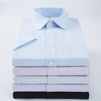 2017 Camisas Dos Homens de Negócios Casuais Camisa Magro Dos Homens Camisa de Trabalho de Manga Curta Listrada/Sarja Camisas dos homens Camisas Sociais Masculina