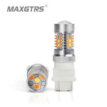 New 2x T25 3157 P27/7W Dual Color Type White Amber Yellow Switchback LED 3030 28smd LED DRL Turn Signal Parking Light Bulbs(China)