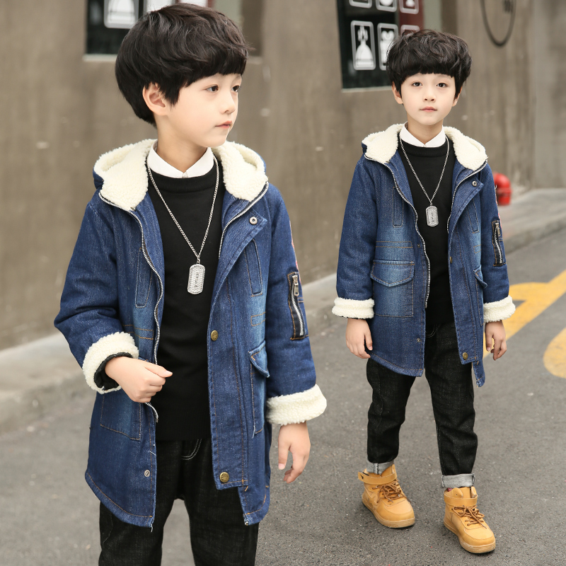 New Brand 2018 Children Winter Jacket Coat For boy Fashion Plus Thick Velvet Cotton Fur Outwear Hooded Jeans Warm Clothes Hot womens parkas with fur hoods winter warm long denim jeans velvet hooded long ladies wool coat jacket 2017 plus size blue clothes
