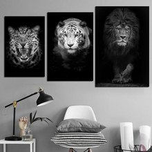 Abstract Black and White Poster Canvas Animal Posters And Prints Lion Tiger Lepoard Painting Wall Art Decorative Home Pictures