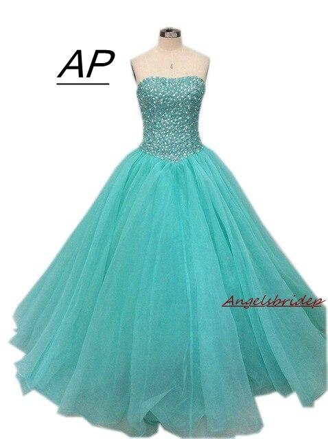 Angelsbridep Tulle Ball Gown Quinceanera Dresses 2019 Crystal Pearls Puffy Vestido Debutante Sweet 16 Vestidos De