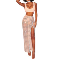 Sexy Nightclub Women Clothing 2 Pieces Set Backless Crop Top Vest Dress Grid Sequin High Waist