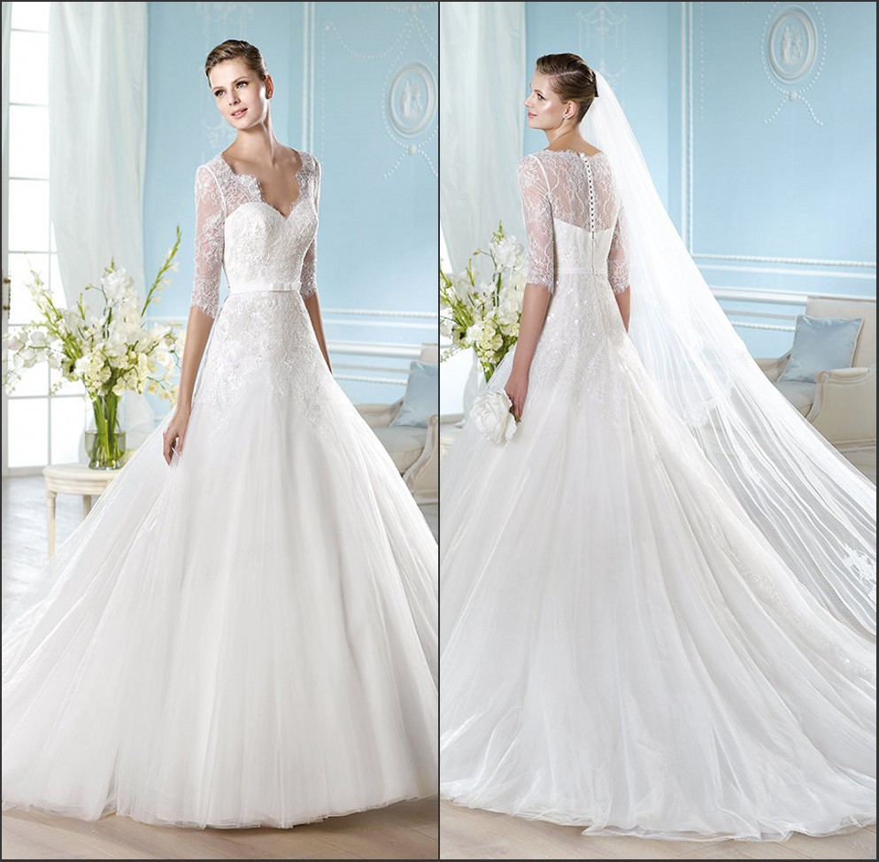 Puffy Ball Gown Dropped Waist Lace Long Sleeves Wedding Dress