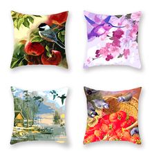 4pcs Cushion Cover Linen or Polyester Flowers Birds Beauty Print Pillowcase Flamingo Owl Decorative Covers for Sofa Car 45x45cm