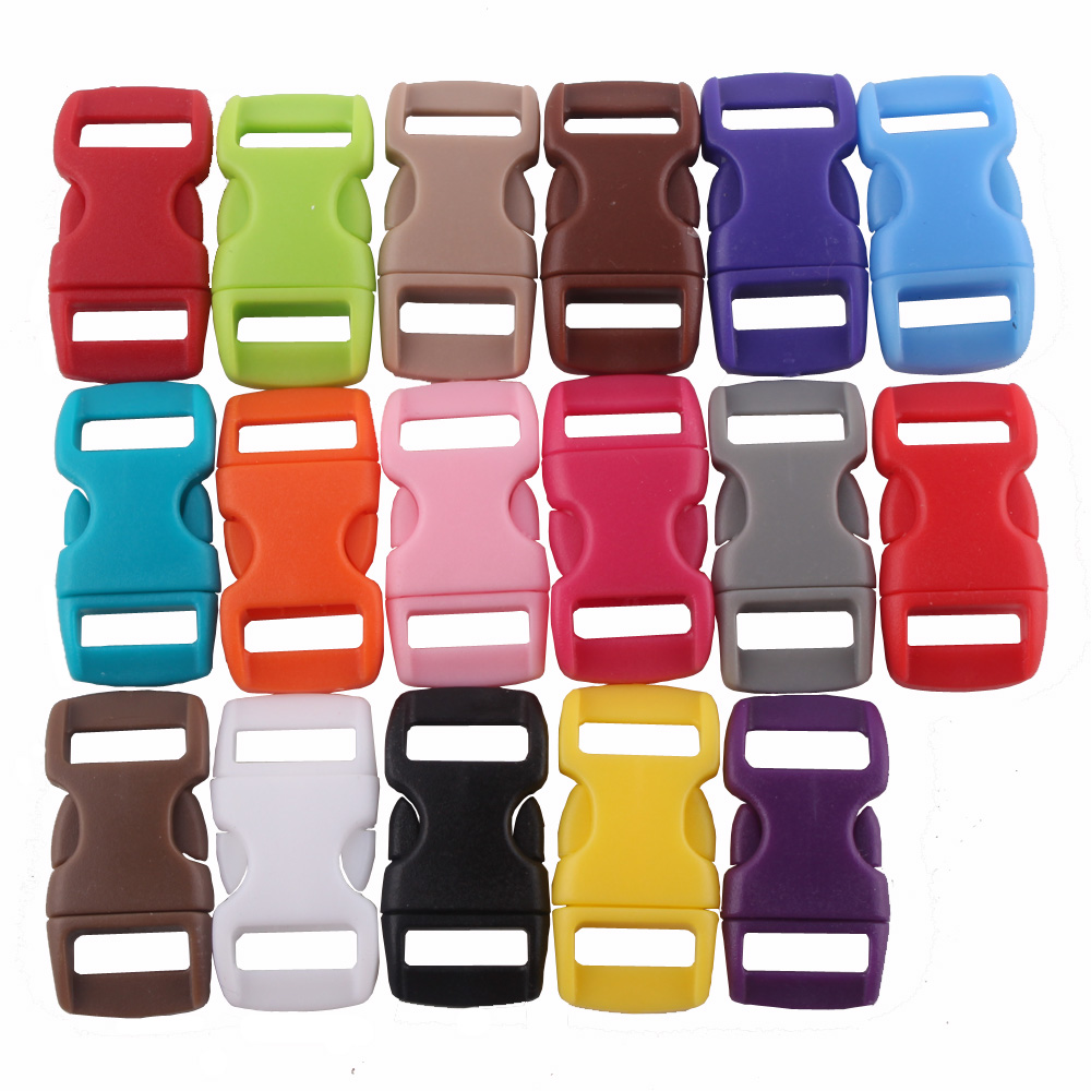 YoouPara Plastic 50/Lot 10mm 3/8 Contoured Side Release Buckles Clasps For Paracord Bracelet Backpacks Clothes Bag Decor