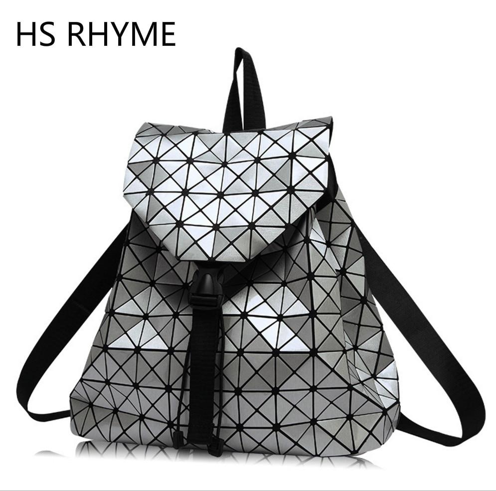 Clear Inventory HS RHYME Women Diamond Geometric Lattice Backpack Folded Patchwork Bag Drawstring Mochila Sac A Dos inventory accounting
