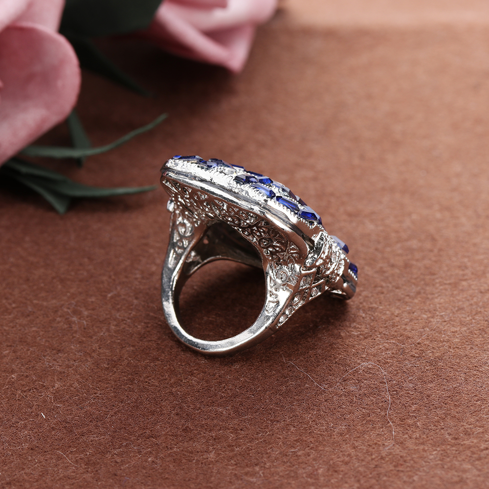 Antique Art Deco Large 925 Sterling Silver Blue Ring Women Anniversary  Proposal Gift Fashion Jewelry-in Rings from Jewelry   Accessories on  Aliexpress.com ... 89ba295f1dc2