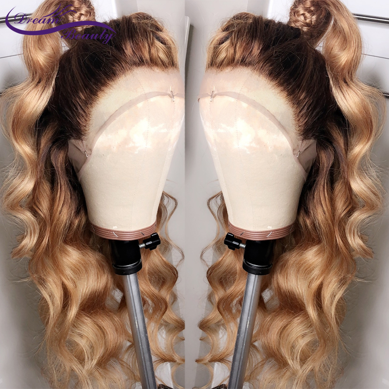 Ombre Blonde 13X6 Deep Part Lace Front Human Hair Wigs Pre Plucked Brazilian Remy Wavy Lace Frontal #4/27 Color Wig Dream Beauty