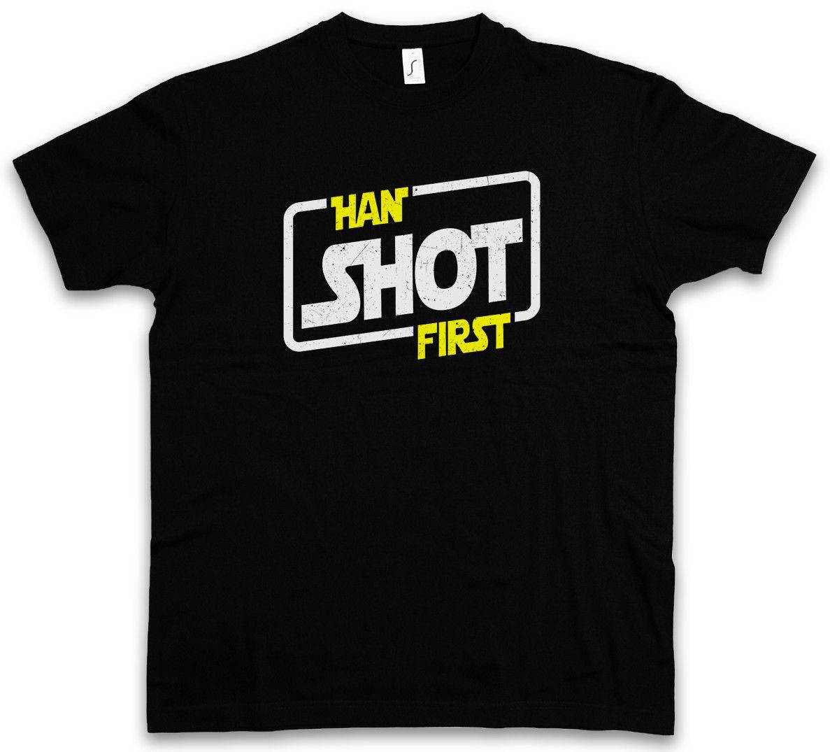 Хан выстрелил первая футболка Solo X Красная звезда Allianz Imperium пять войны крыло Скайуокер продажа 100% хлопок футболка футболка