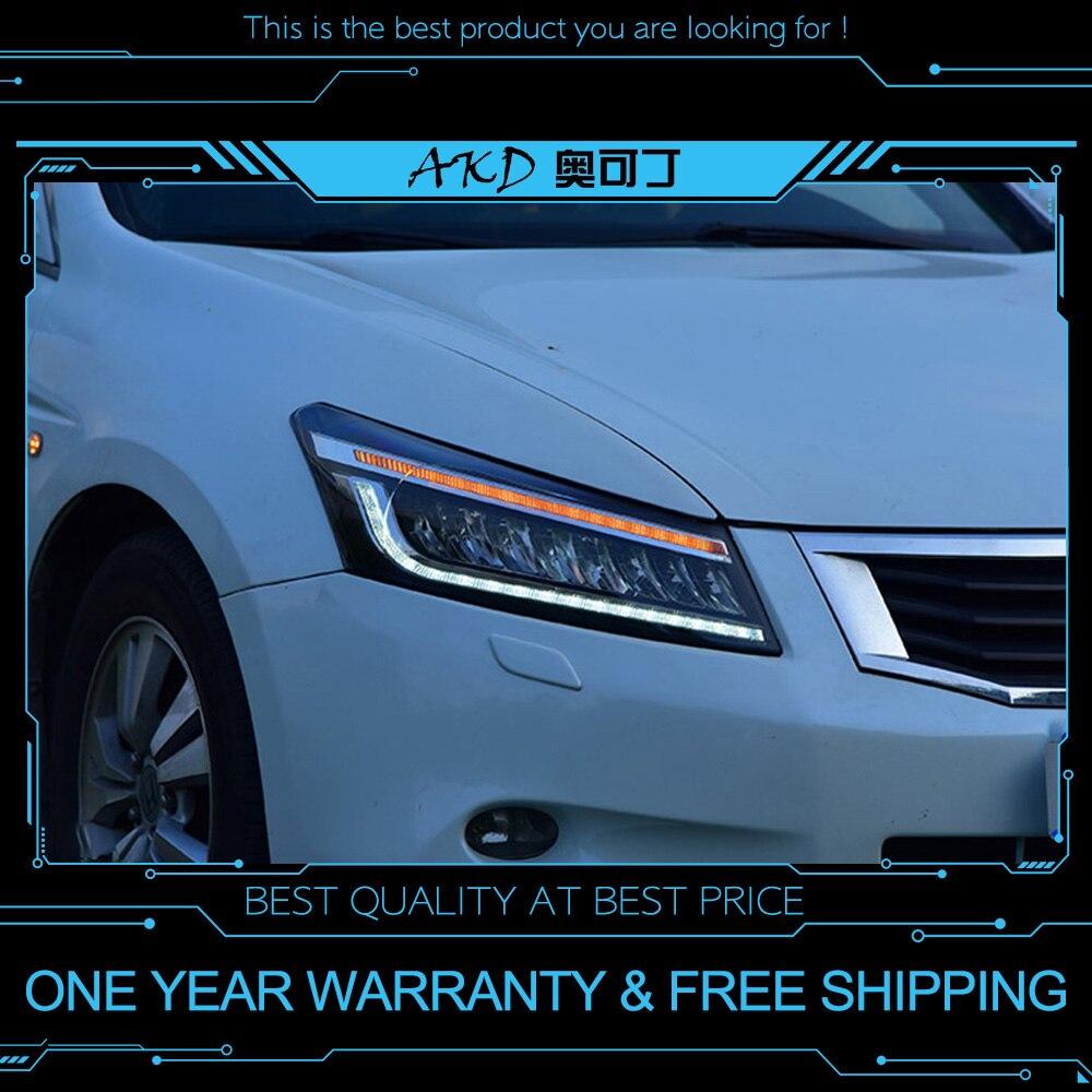 AKD tuning cars Headlight For Honda Accord G8 2008-2013 Headlights Full LED DRL Running lights Bi-Xenon beam dynamic signalAKD tuning cars Headlight For Honda Accord G8 2008-2013 Headlights Full LED DRL Running lights Bi-Xenon beam dynamic signal