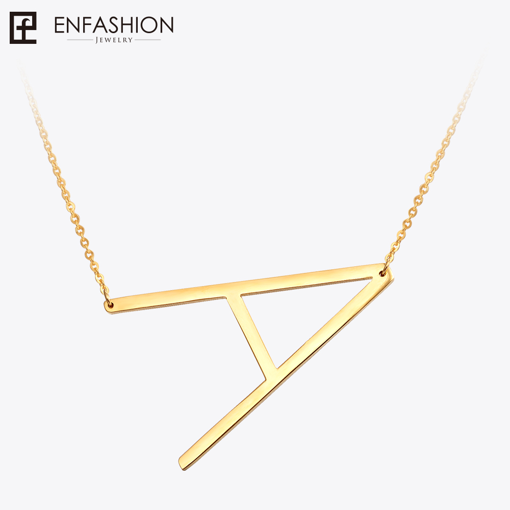 EnFashion Letter Necklaces Alphabet Initial Pendants Necklace Gold Color Stainless Steel Choker Necklace for Women Jewelry beurself oversized capital initial necklace custom name large 26 letters alphabet punk style gold color alloy jewelry for women