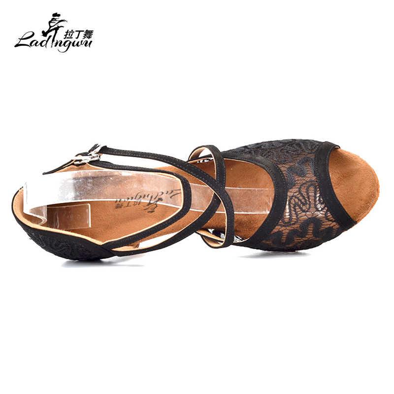 Ladingwu Venda Quente Do Laço Preto da Dança da Salsa Sapatos Fundo Macio de Pelúcia Almofada Preta Sapatos Para Mulheres Saltos 6 cm/7.5 cm/9 cm