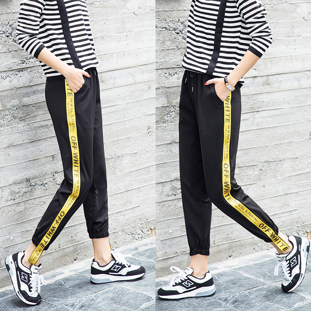 2018 Summer Women Trousers Casual Sweatpants Letter Yellow Side Striped  Loose Harem Pants Sweat Drawstring High Waist Pants ae078a862