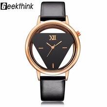 GEEKTHINK Hollow серии Элитный бренд кварцевые часы Для женщин женские повседневные платья кожаный ремешок Часы женские Девушки тенденции